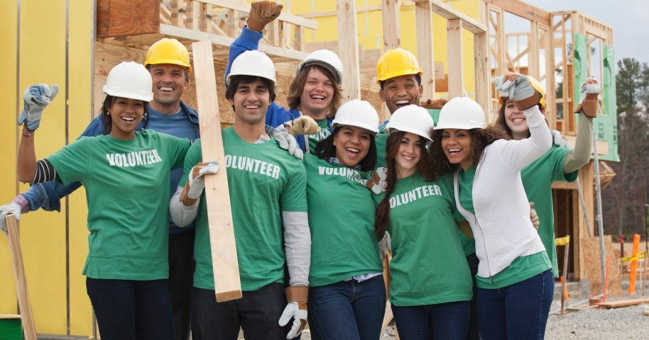 Volunteers on a construction project