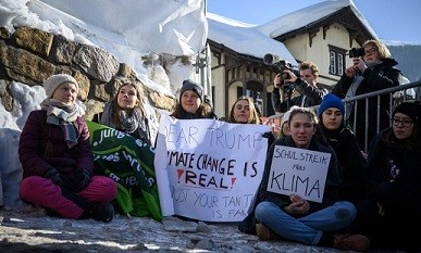 Student activists in Davos