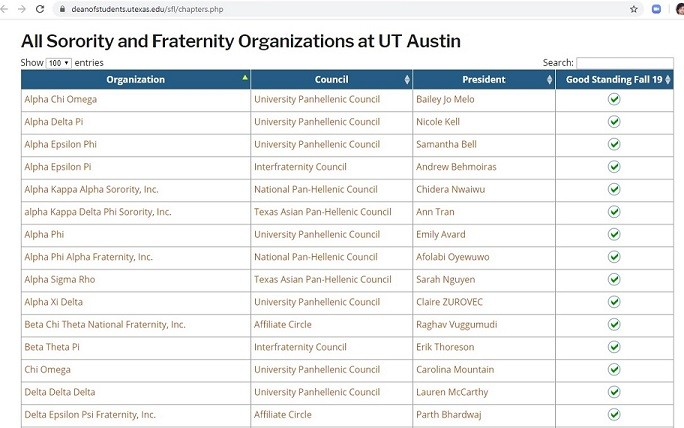Fraternity & Sorority List