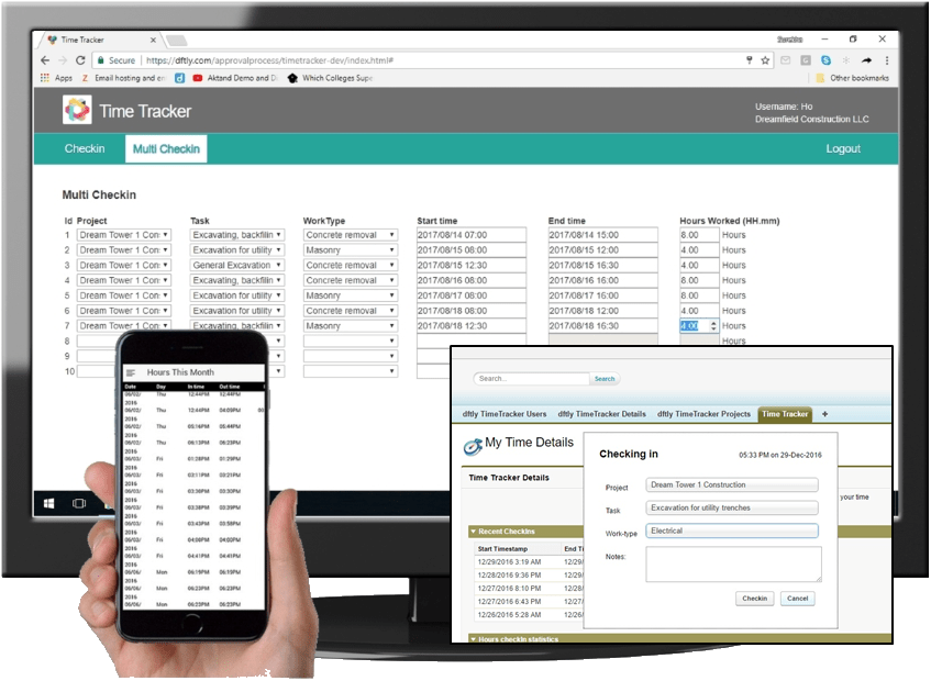 Track time on the web, in a mobile app or within Salesforce.
