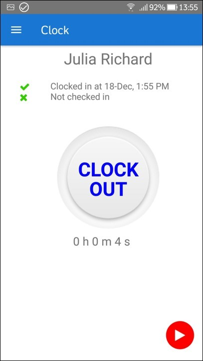 Mobile Time Tracker Clock out