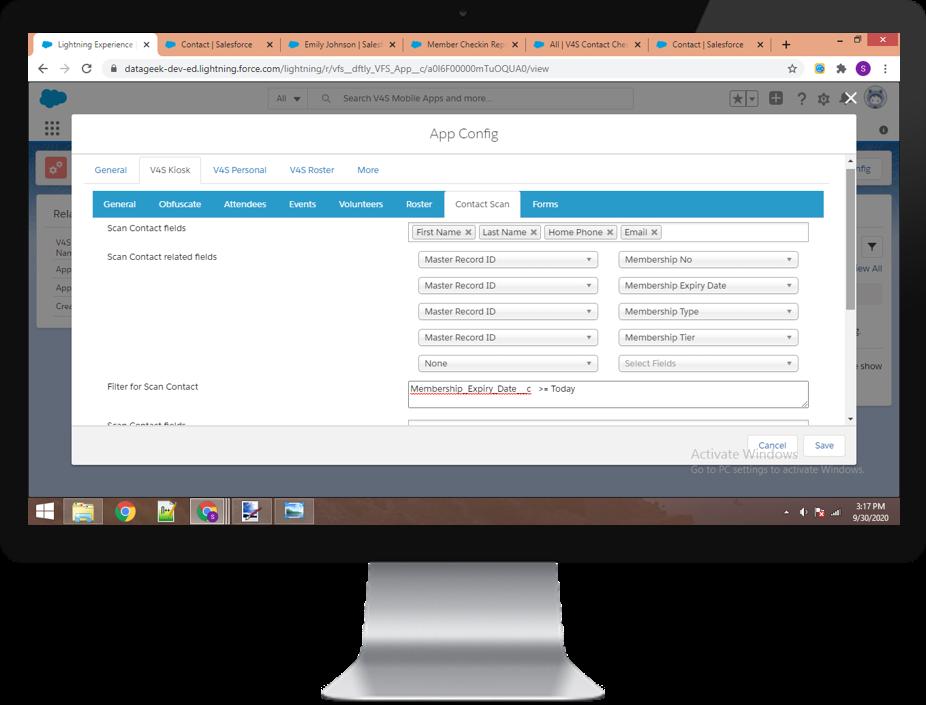 Configure Scan Member screen